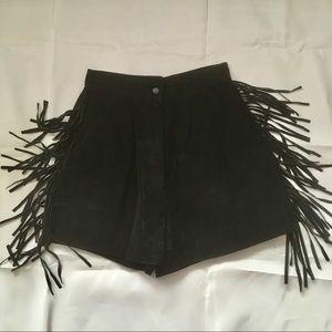 Shorts - Vintage 80s high waisted black suede fringe shorts